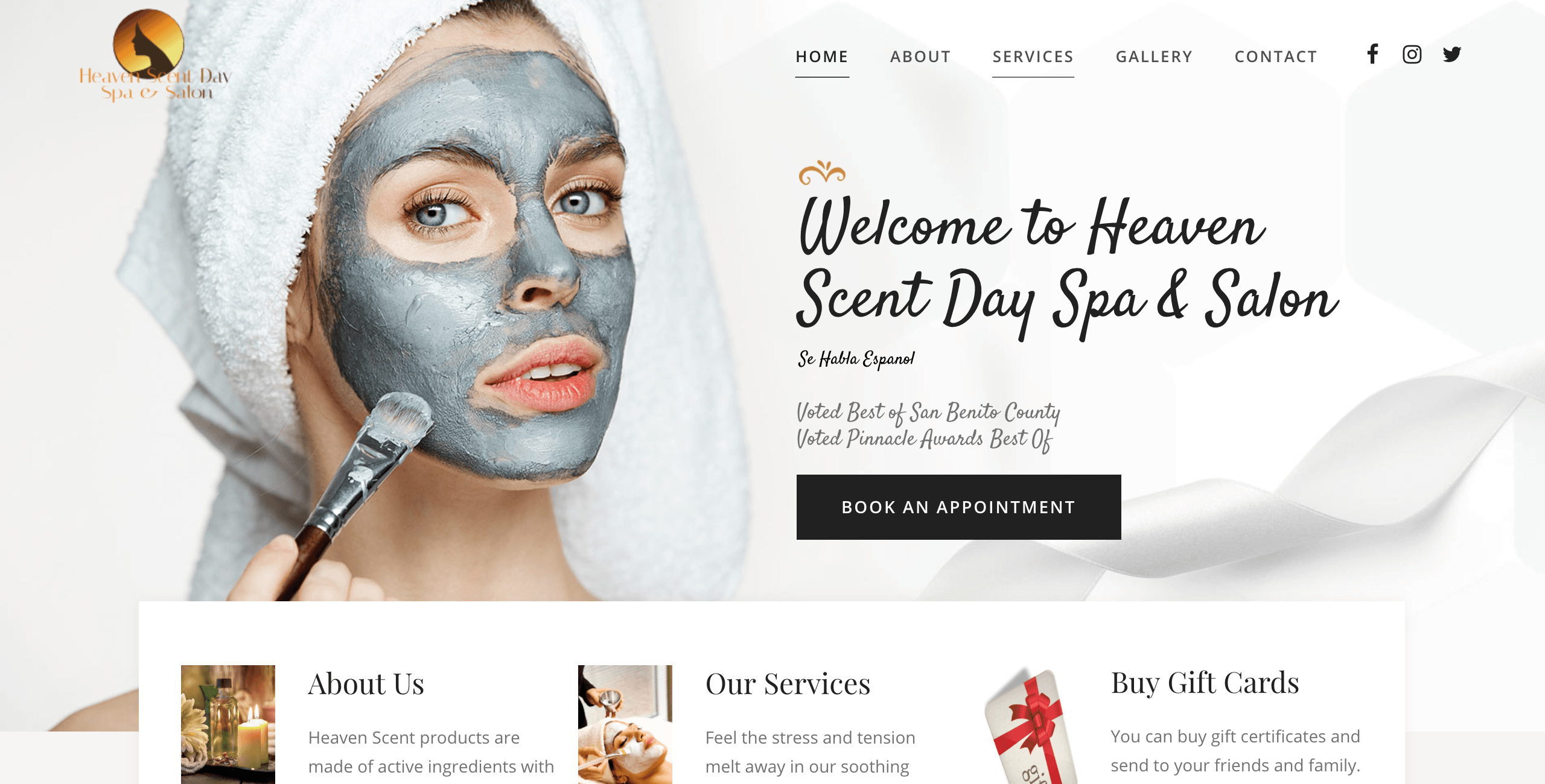 Heaven Scent Day Spa and Salon Website Design